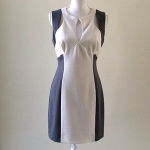 Black Halo elegant white and grey dress